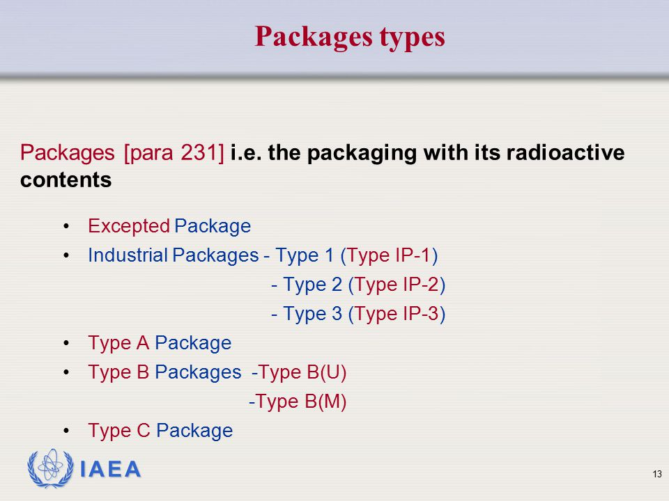 Packages types Packages [para 231] i.e. the packaging with its radioactive contents. Excepted Package.